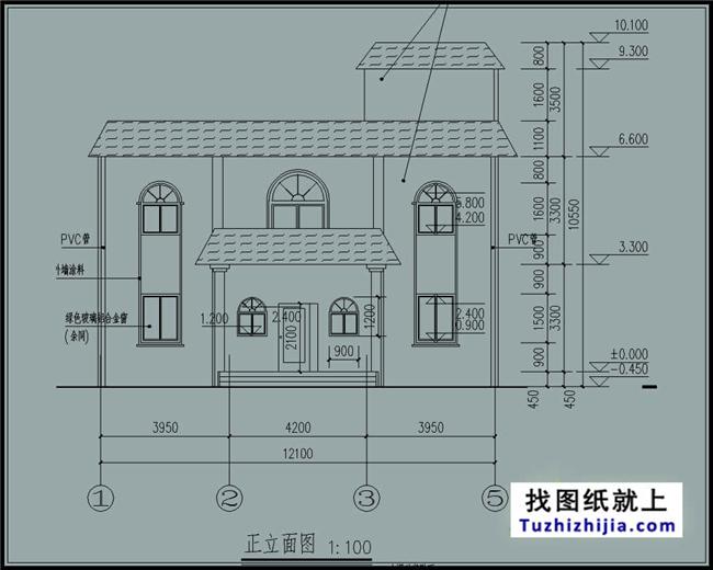 105平方米新农村二层房屋设计建筑cad图纸带外观效果图12x9米图片