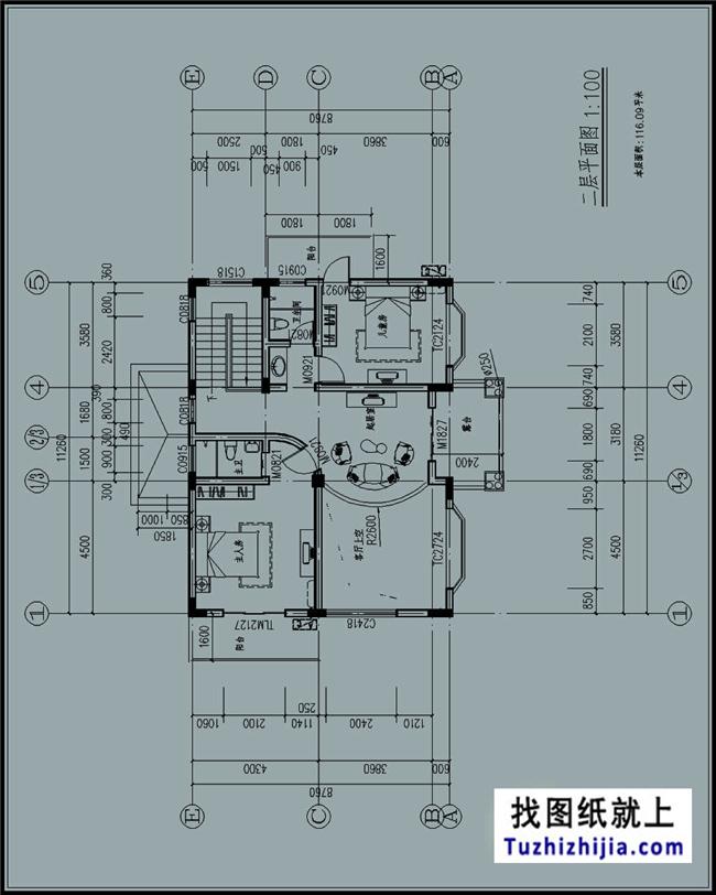 115平方米自建别墅设计带地下室的cad设计图纸及外观设计,12x9米图片