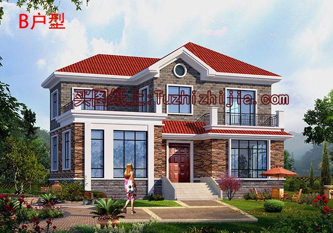 180平米房屋设计图_地中海风格二层别墅房屋设计图,带外观效果图(150平方米,25~29 ...
