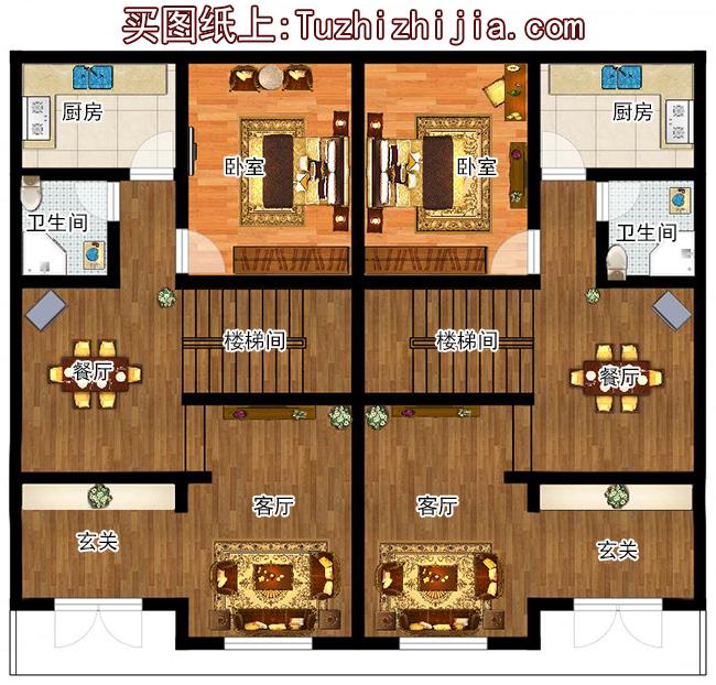 农村独栋别墅图纸_165平方米三层双拼农村房屋设计图大全14x12(168平方米,34万左右 ...
