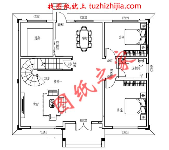 农村三层带地下室小楼房设计图,客厅中空,带书房,旋转图片