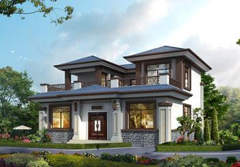 小型四合院二层别墅设计图方案,对称设计,顶层大露台图片